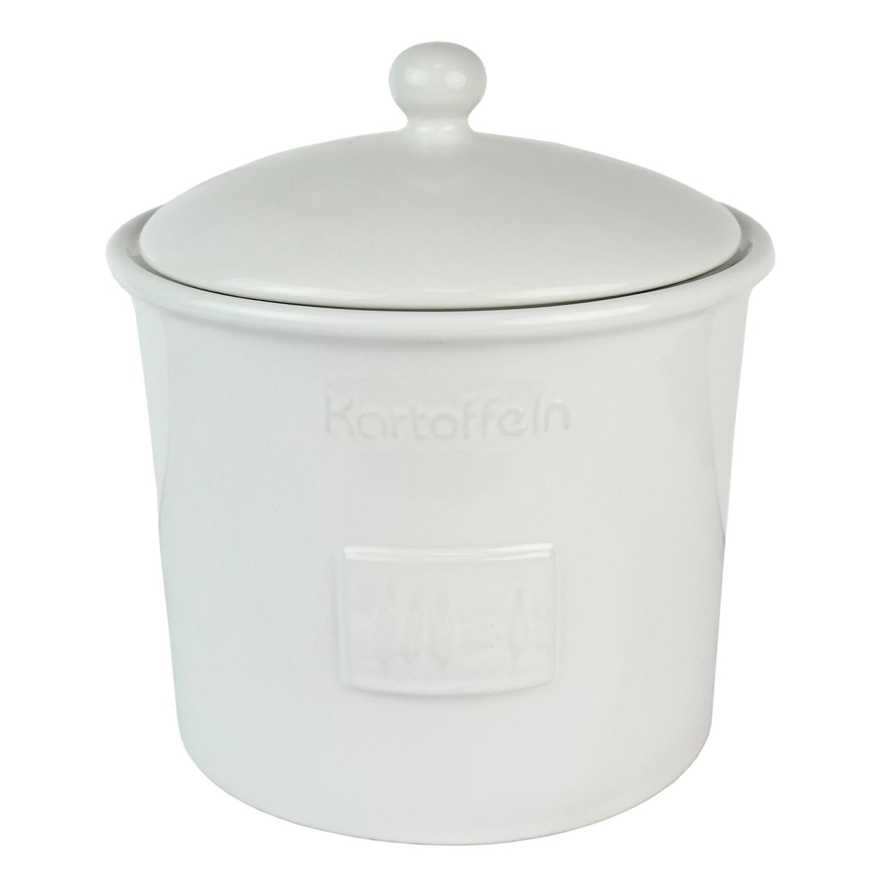 Recipient Cu Capac Pentru Cartofi Din Ceramica Alb
