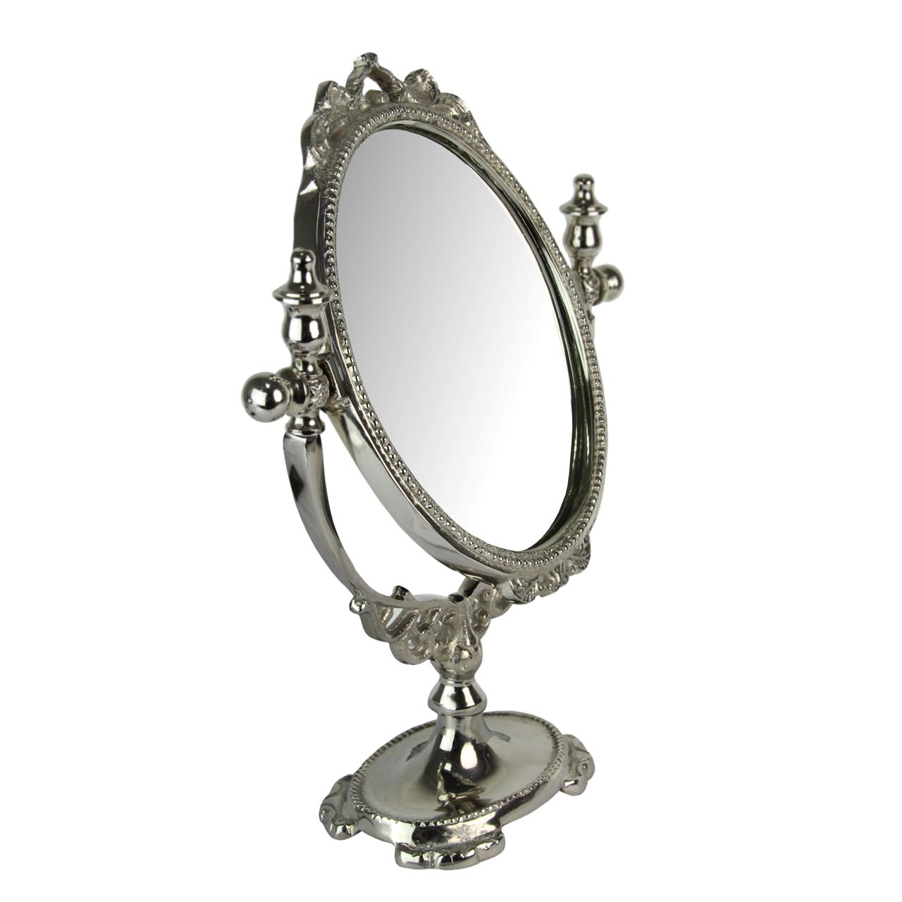 Oglinda Cu Picior Din Metal Argintiu 36x27 Cm