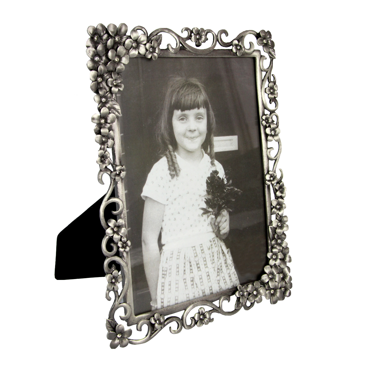 Rama Foto Din Metal Argintiu Cu Flori Si Pietre 19.5x24 Cm