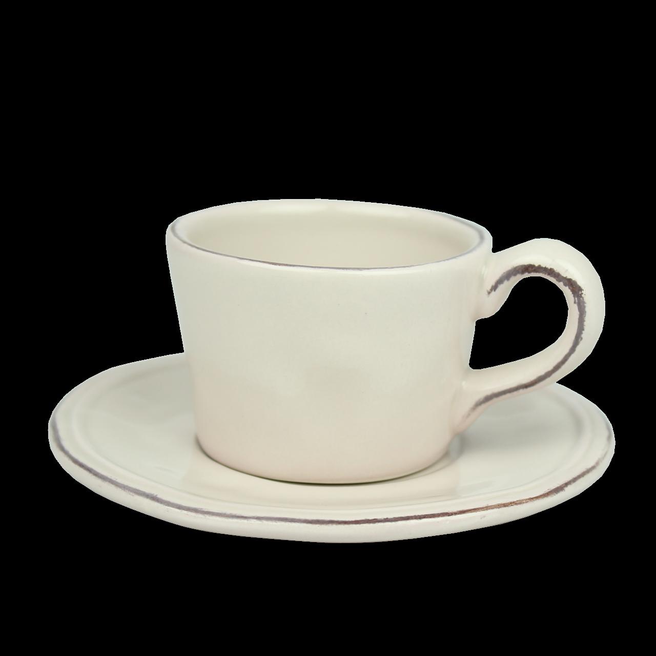 Ceasca Cu Farfurie Din Ceramica Crem
