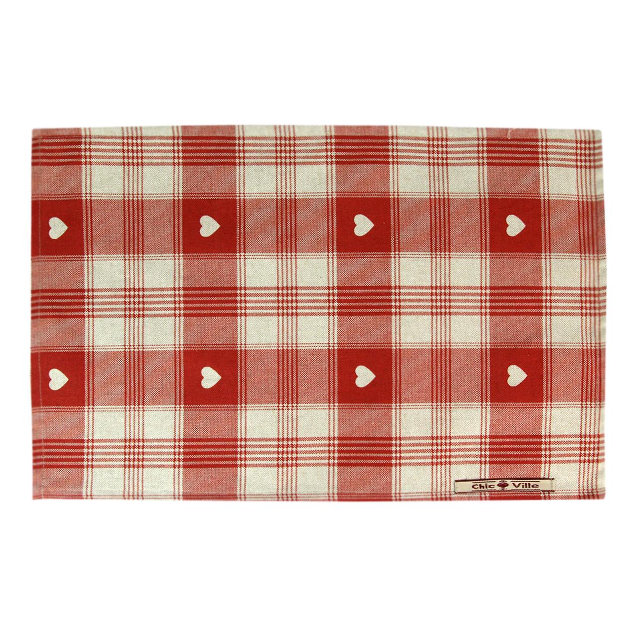 Napron Din Textil Natur Cu Carouri Rosii 35x45 Cm