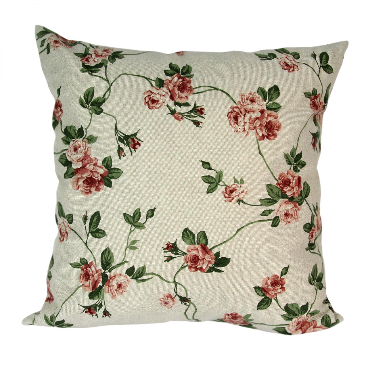 Fata De Perna Din Textil Natur Cu Trandafiri 40 Cm