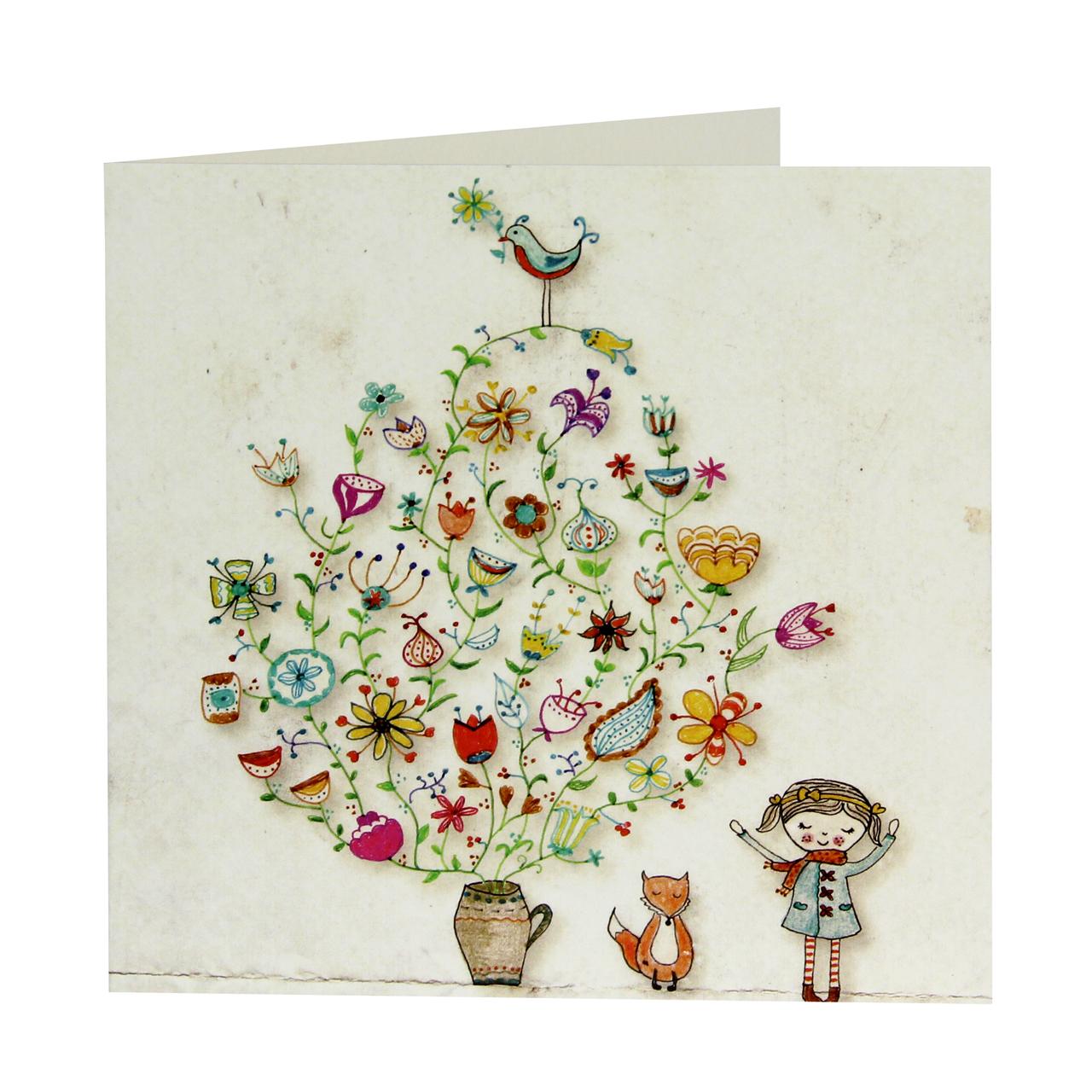 Felicitare Din Carton Cu Vaza De Flori