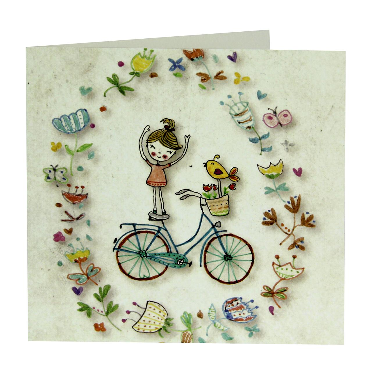 Felicitare Din Carton Cu Fetita Pe Bicicleta