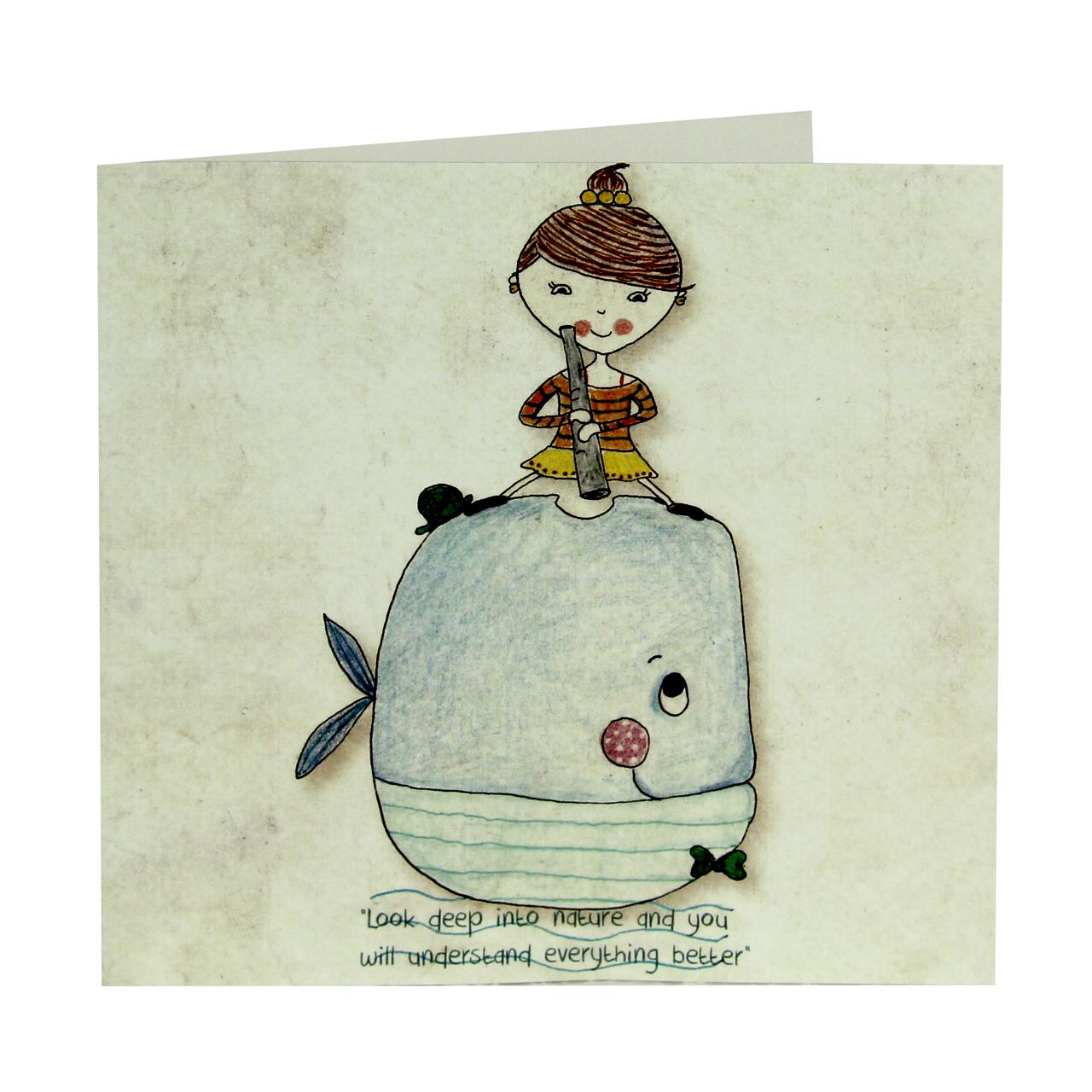 Felicitare Din Carton Cu Fetita Si Balena