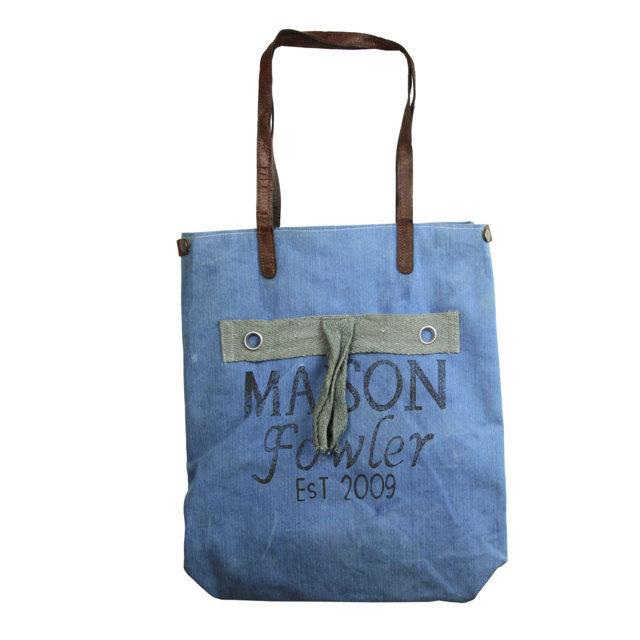 Geanta Din Material Textil Albastru Cu Maison