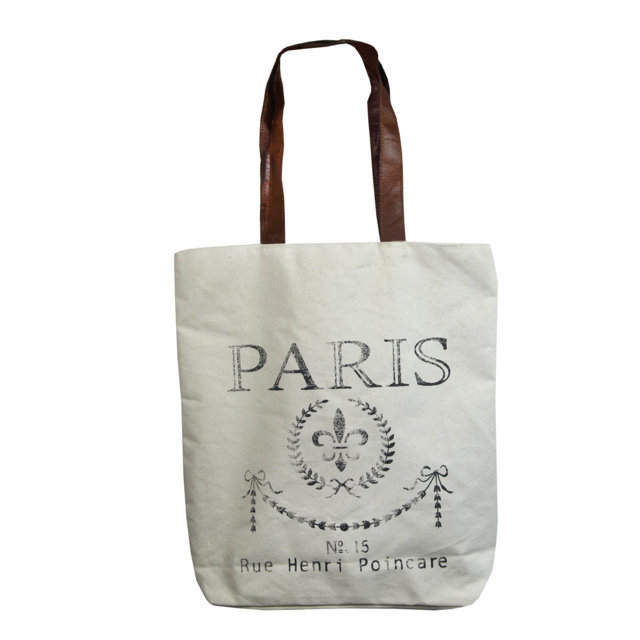 Geanta Din Material Textil Crem Cu Paris