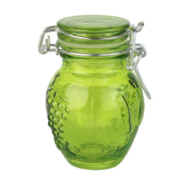 Recipient Din Sticla Verde Cu Capac 9 Cm