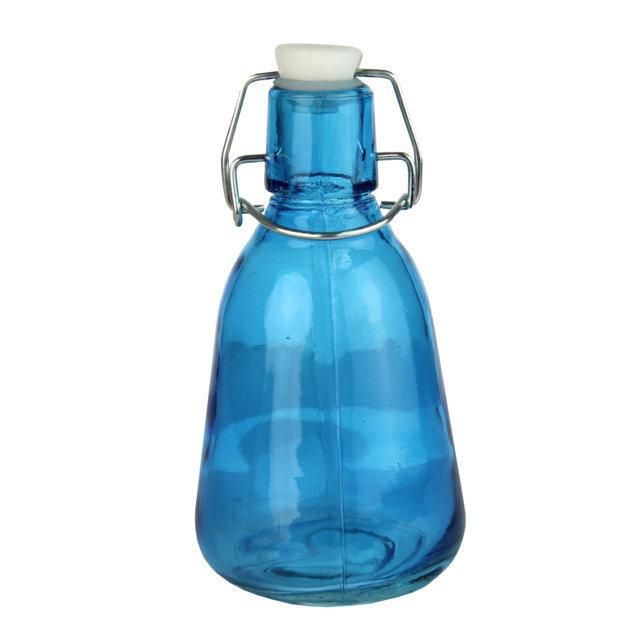 Recipient Din Sticla Albastra Cu Dop 15 Cm