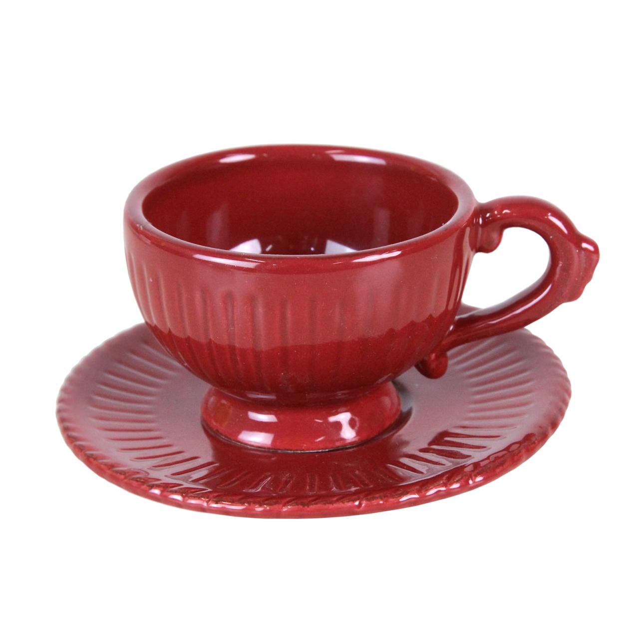 Ceasca Cu Farfurie Din Ceramica Rosie