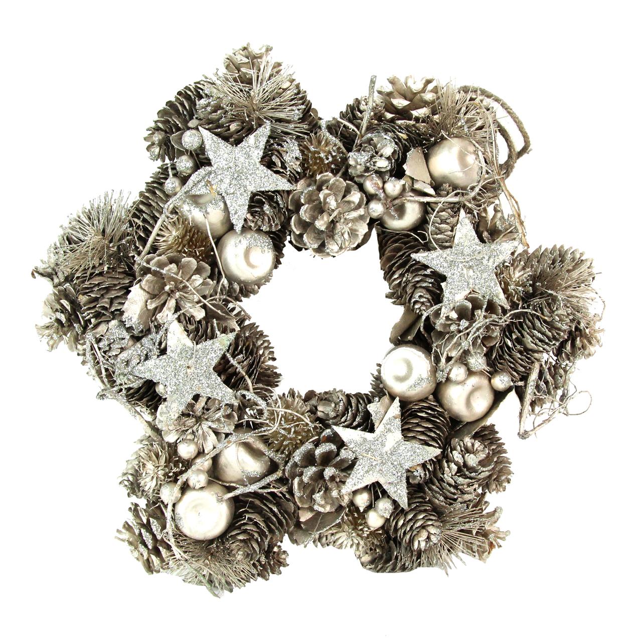 Coronita Decorativa Din Conuri De Brad Argintii 34 Cm