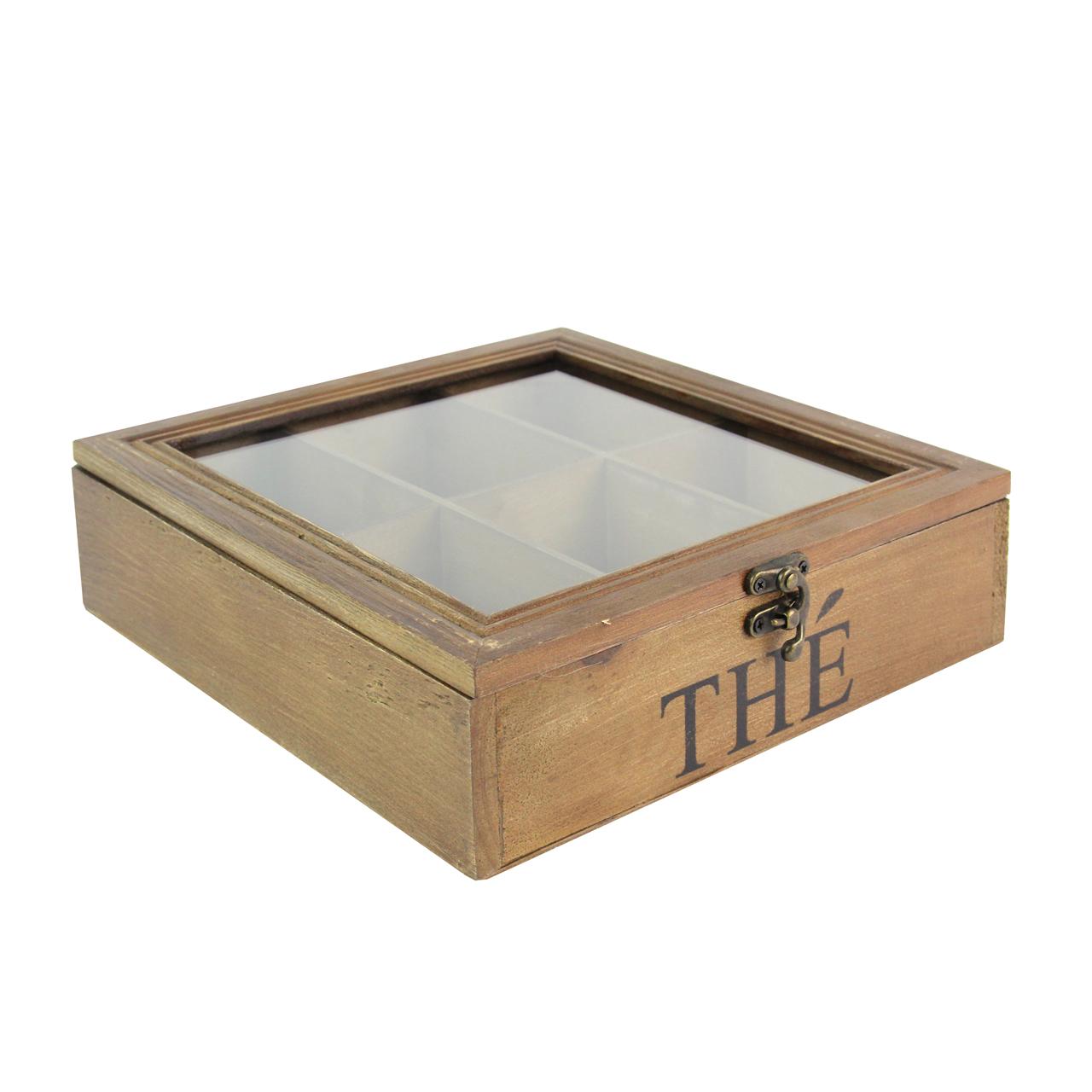 Cutie De Ceai Din Lemn Maro Cu 6 Compartimente