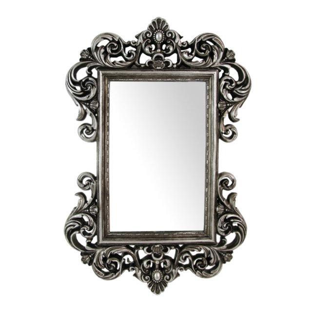 Oglinda Retro Cu Rama Din Polirasina Argintie 54x36.5 Cm