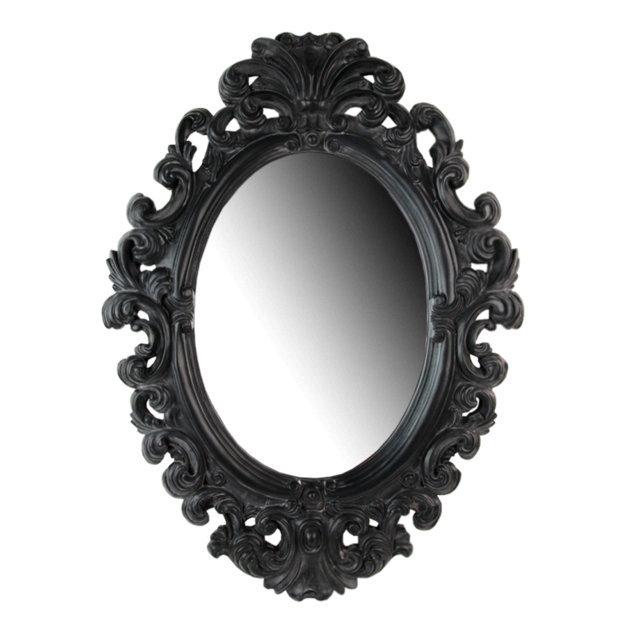 Oglinda Ovala Cu Rama Din Polirasina Neagra 54x73