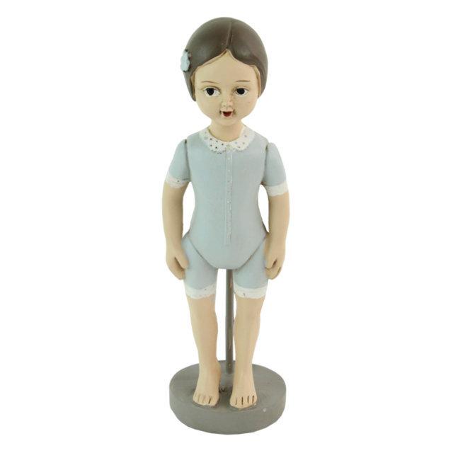 Statueta Fetita In Costum Albastru 17 Cm