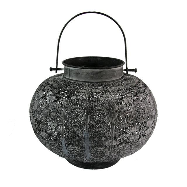 Felinar Vintage Din Sticla Si Metal Negru 25 Cm