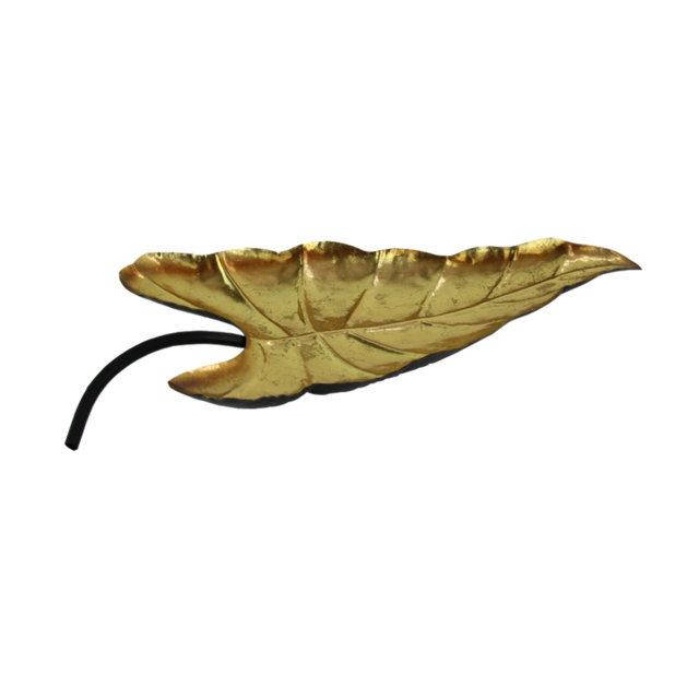 Tava Decorativa Frunza Din Metal Auriu 19x46 Cm