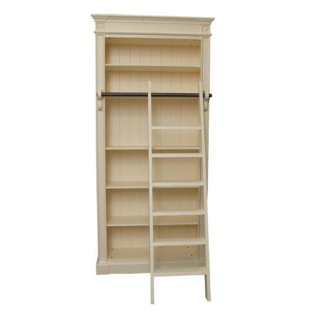 Biblioteca Cu Scara Conte Din Lemn Crem 107x40x230 Cm