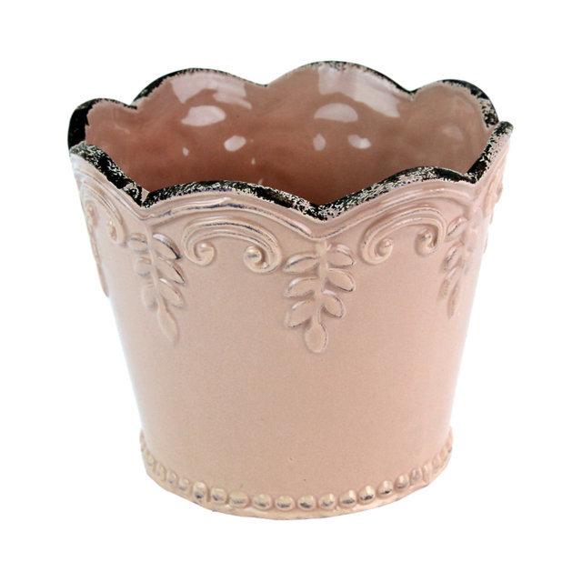 Ghiveci Din Ceramica Roz 9 Cm