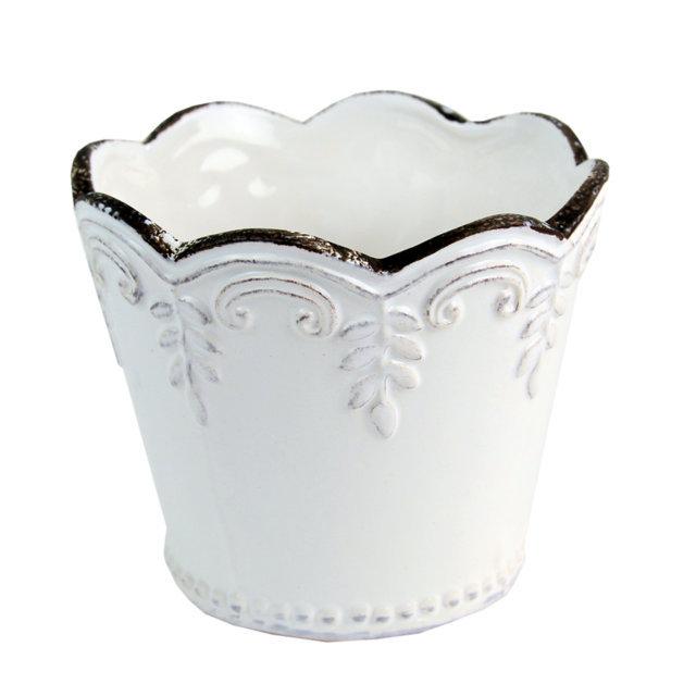 Ghiveci Din Ceramica Alba 9 Cm