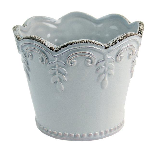 Ghiveci Din Ceramica Gri 9 Cm