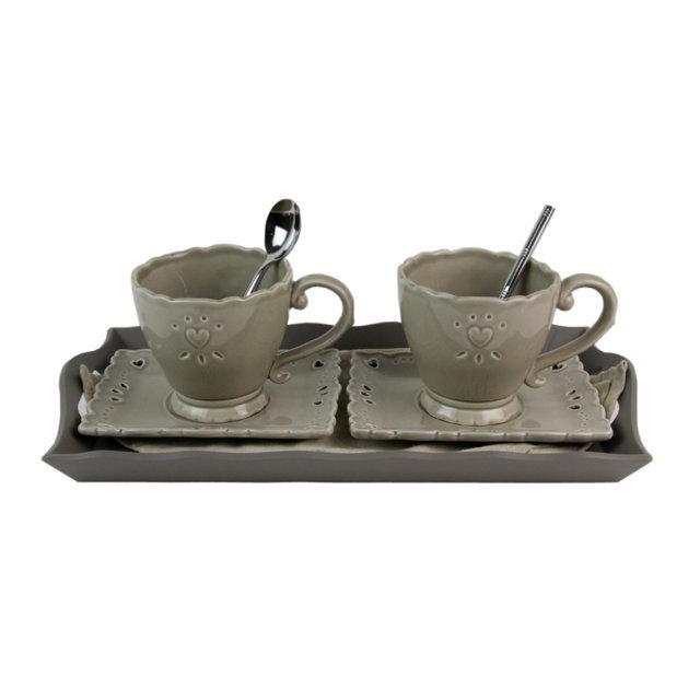 Set Cu 2 Cesti Cafea Din Ceramica Gri