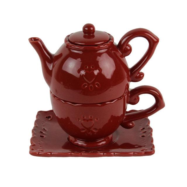 Ceainic Cu Cana Din Ceramica Visinie