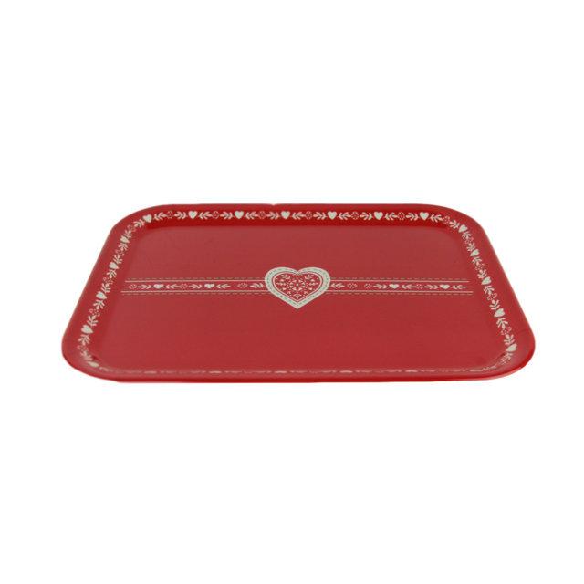 Tava Heart Rosu Cu Alb 39x29x2 Cm
