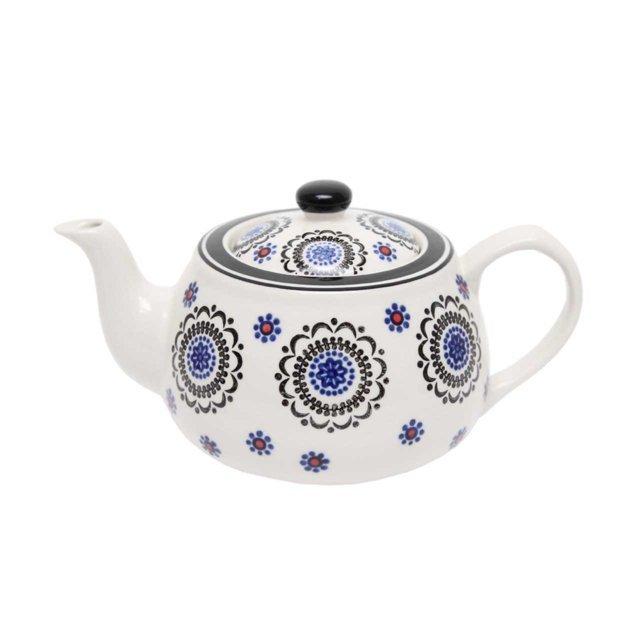 Ceainic Din Ceramica Alba Cu Flori 13 Cm
