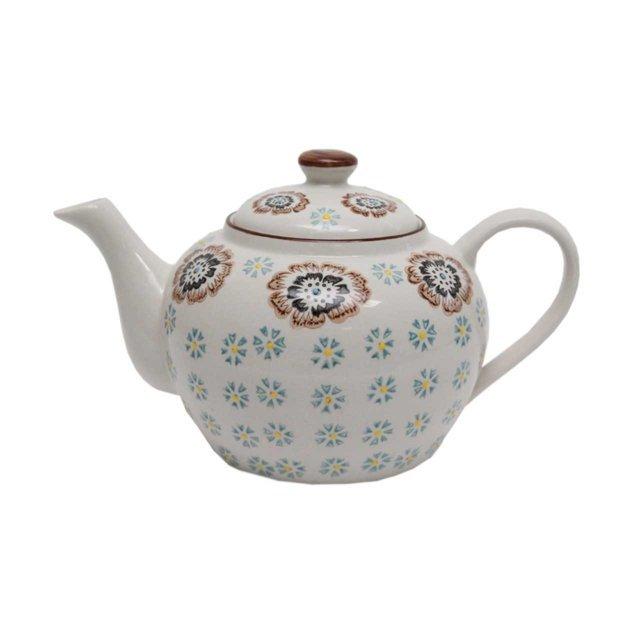 Ceainic Din Ceramica Crem Cu Flori 14 Cm