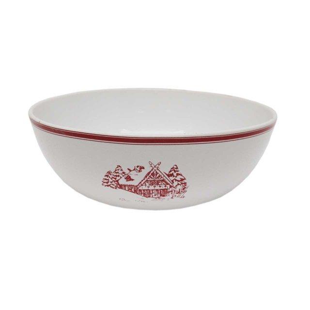 Bol Din Ceramica Alba Cu Rosu 23 Cm