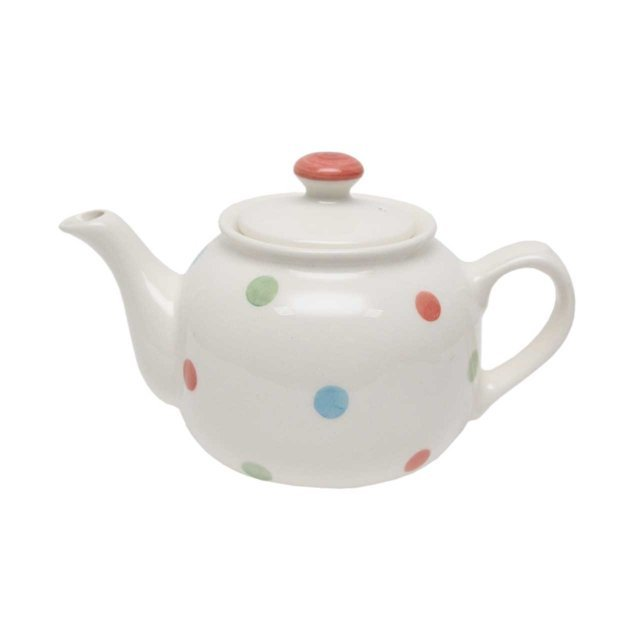 Ceainic Din Ceramica Alba Cu Buline 15 Cm