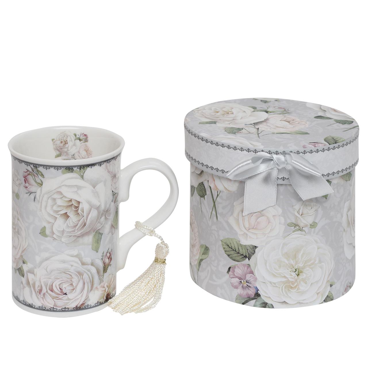 Cutie Cu Cana Din Ceramica Cu Flori Albe