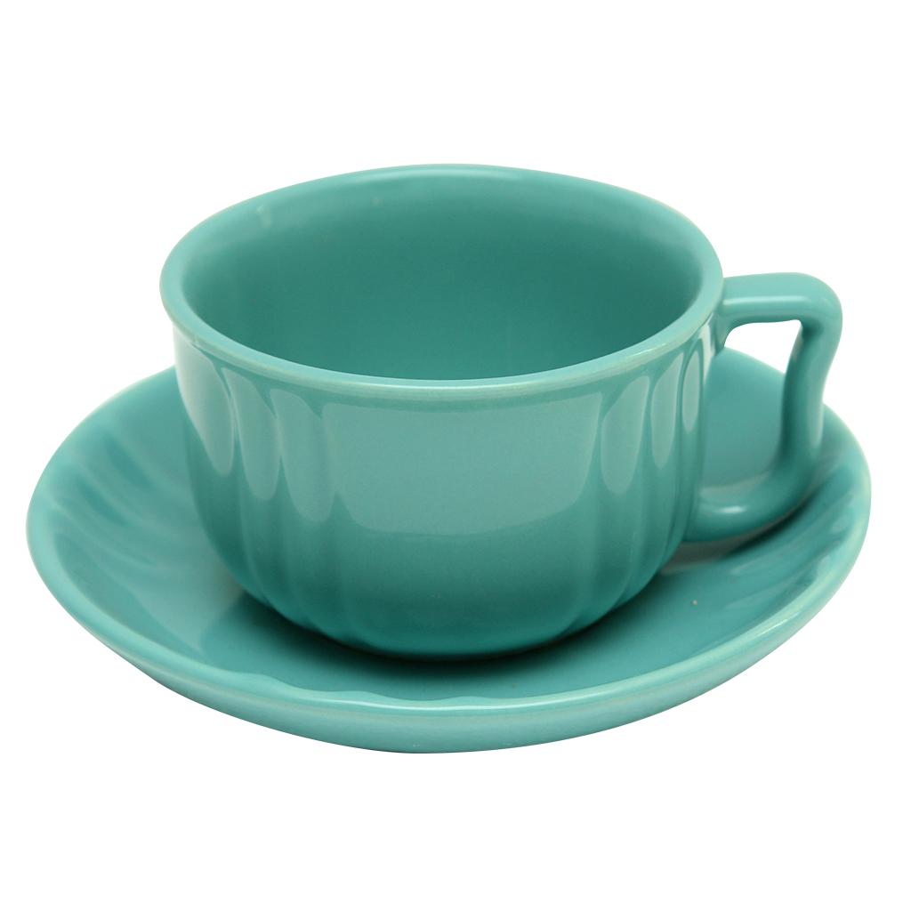 Ceasca Cu Farfurie Din Ceramica Turcoaz 9.5 Cm