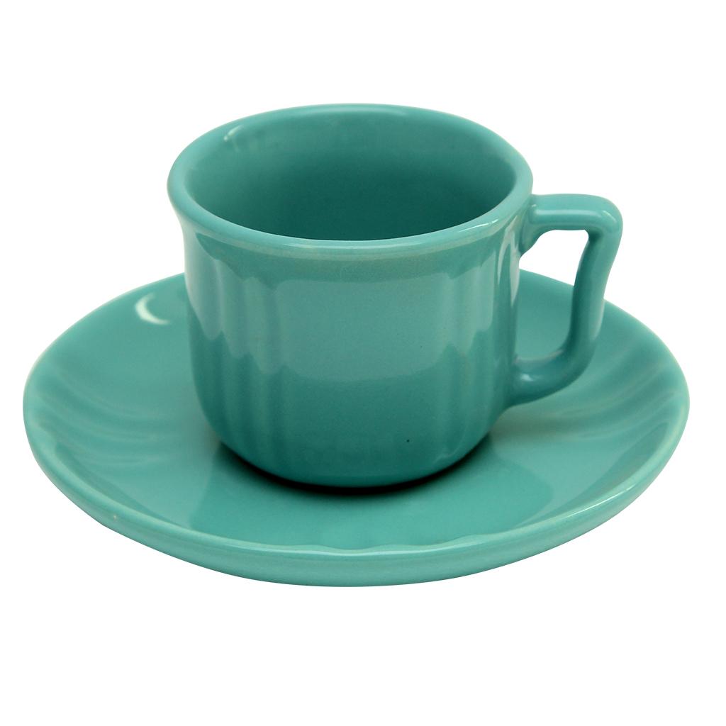 Ceasca Cu Farfurie Din Ceramica Turcoaz