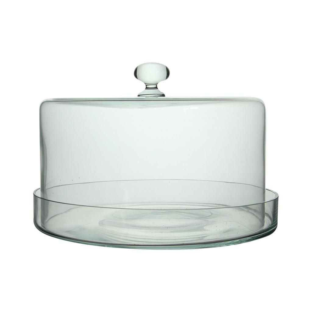 Platou Cu Capac Din Sticla Transparenta 18 Cm