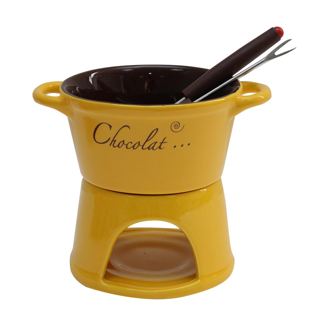 Serviciu Fondue din ceramica galbena cu maro 12 cm