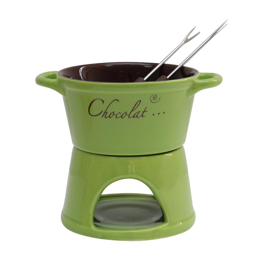 Serviciu Fondue din ceramica verde cu maro 12 cm