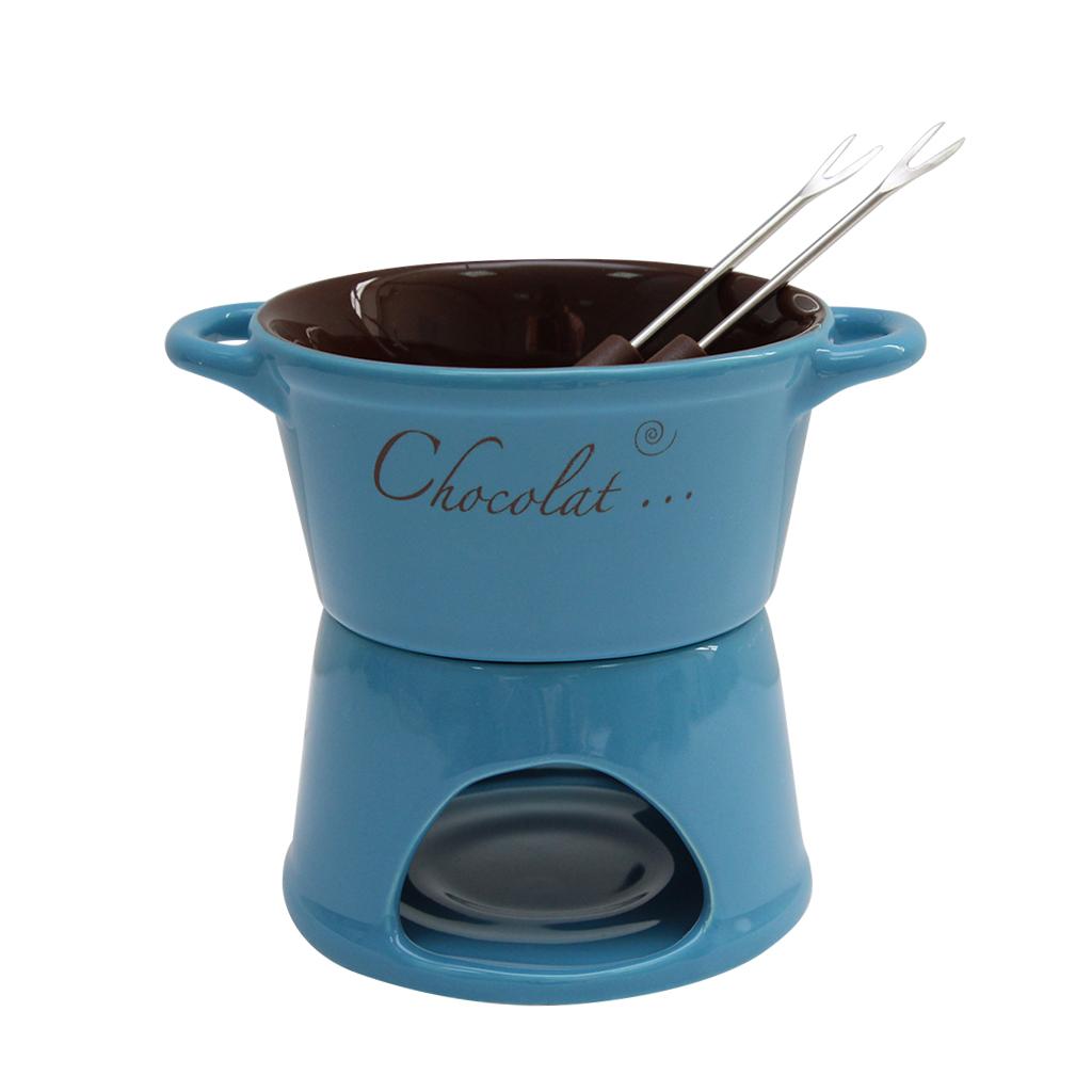 Serviciu Fondue din ceramica albastra cu maro 12 cm