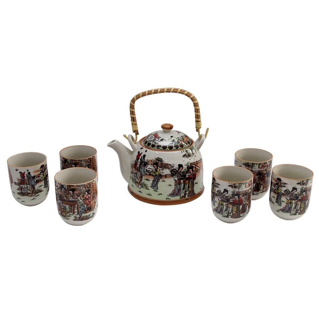 Set Cu Ceainic Si 6 Pahare Din Ceramica Multicolor
