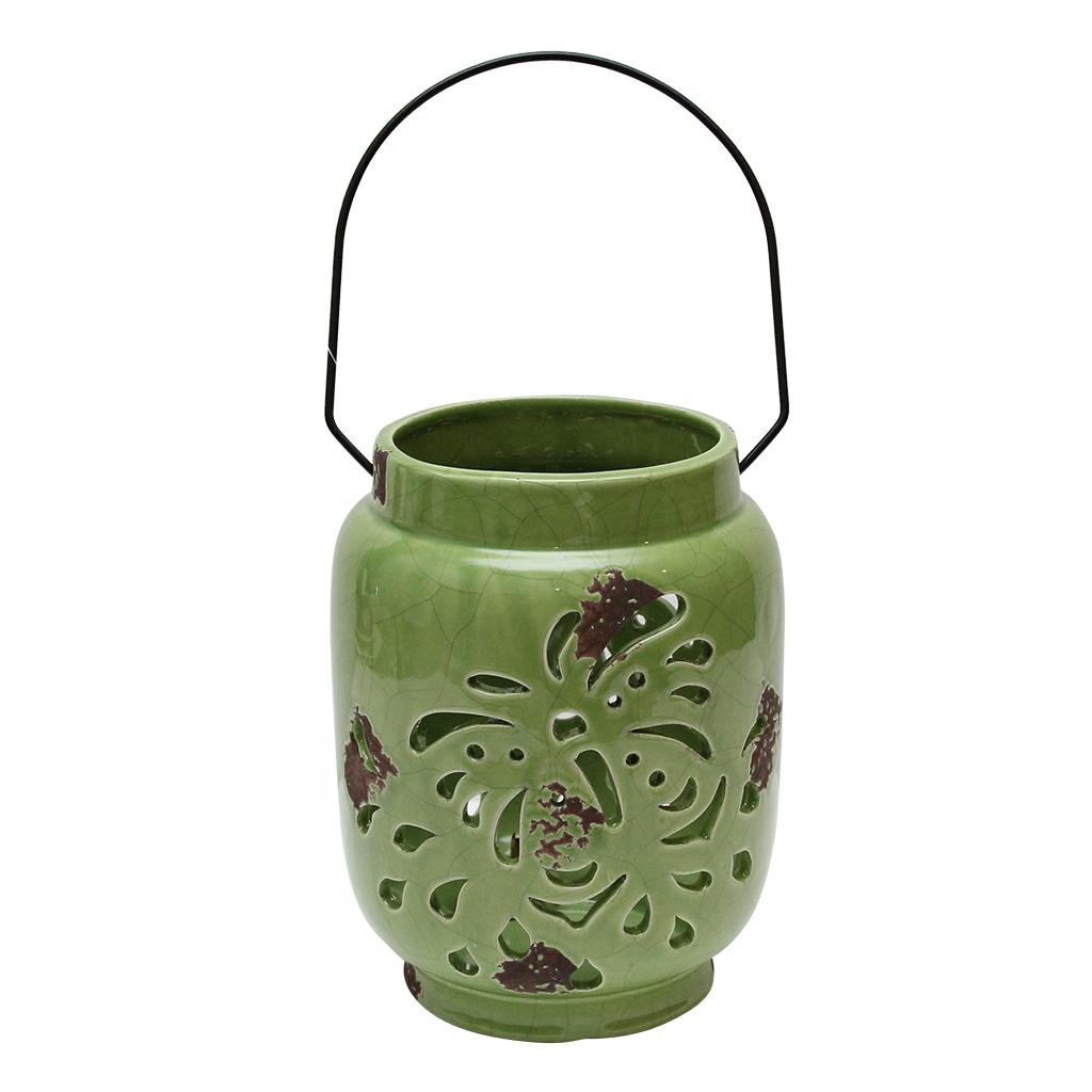 Felinar Din Ceramica Verde 21 Cm