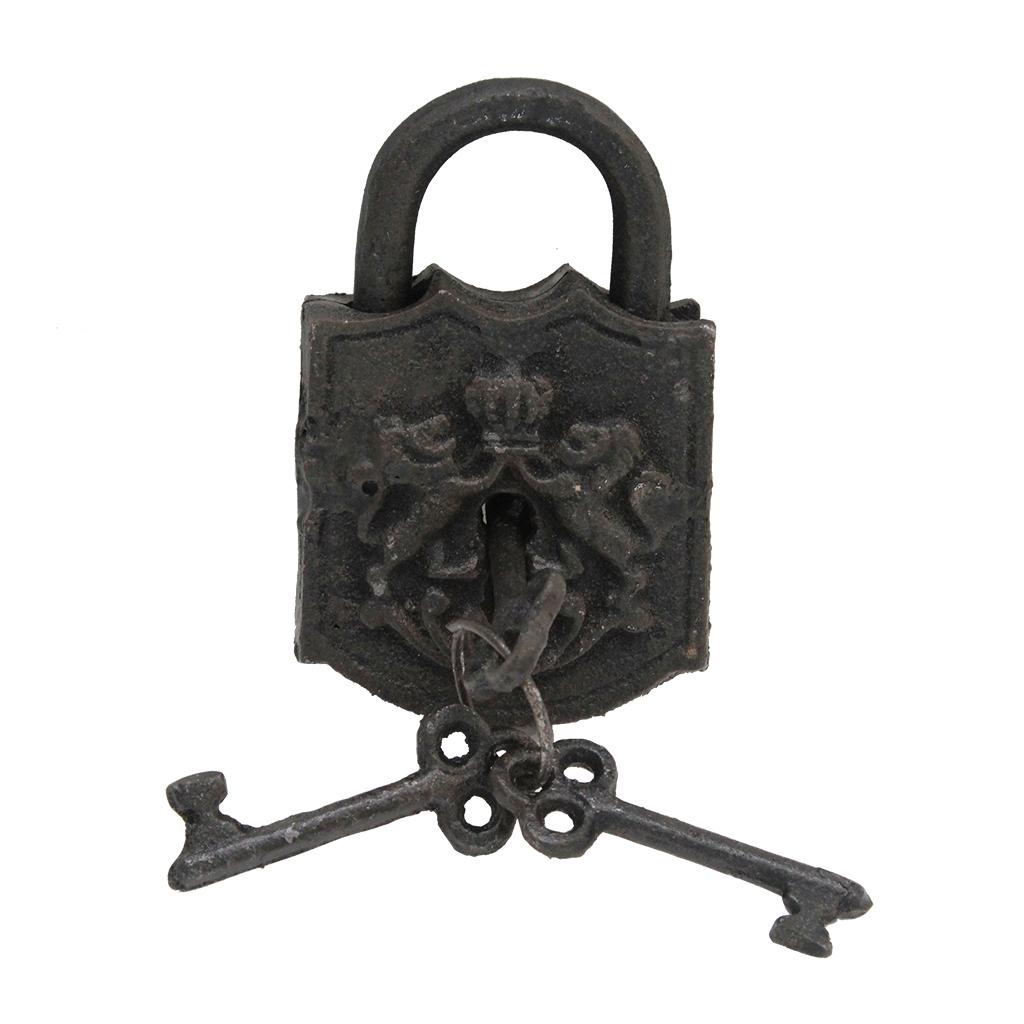 Legatura 4 Chei Decorative Si Lacat Din Metal Negru