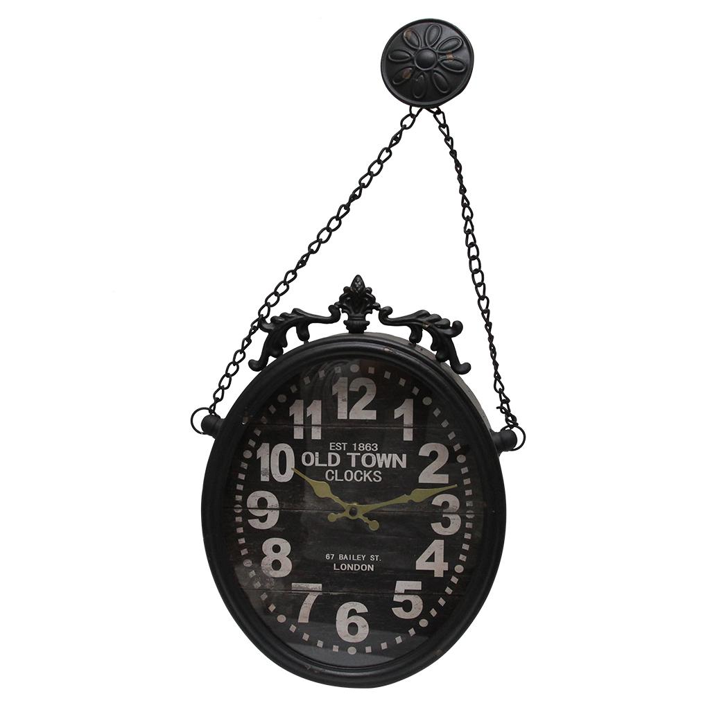 Ceas De Perete Din Metal Negru 60 Cm