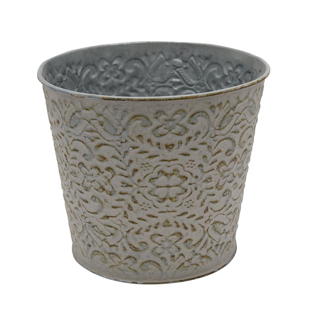 Ghiveci Din Metal Gri Cu Flori 15 Cm
