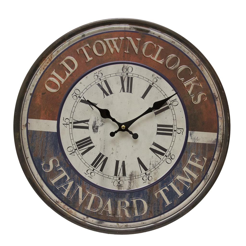 Ceas De Perete Old Clock Din Metal Antichizat Albastru Cu Rosu 40 Cm