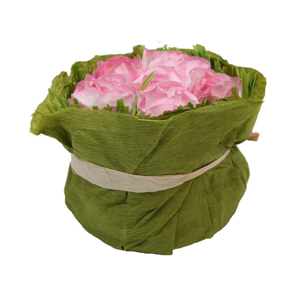 Floare Artificiala Buchet Din Hartie Alb Cu Roz 8 Cm