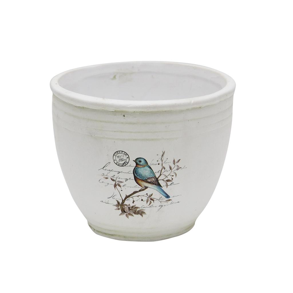 Ghiveci Din Ceramica Cu Pasare 14 Cm