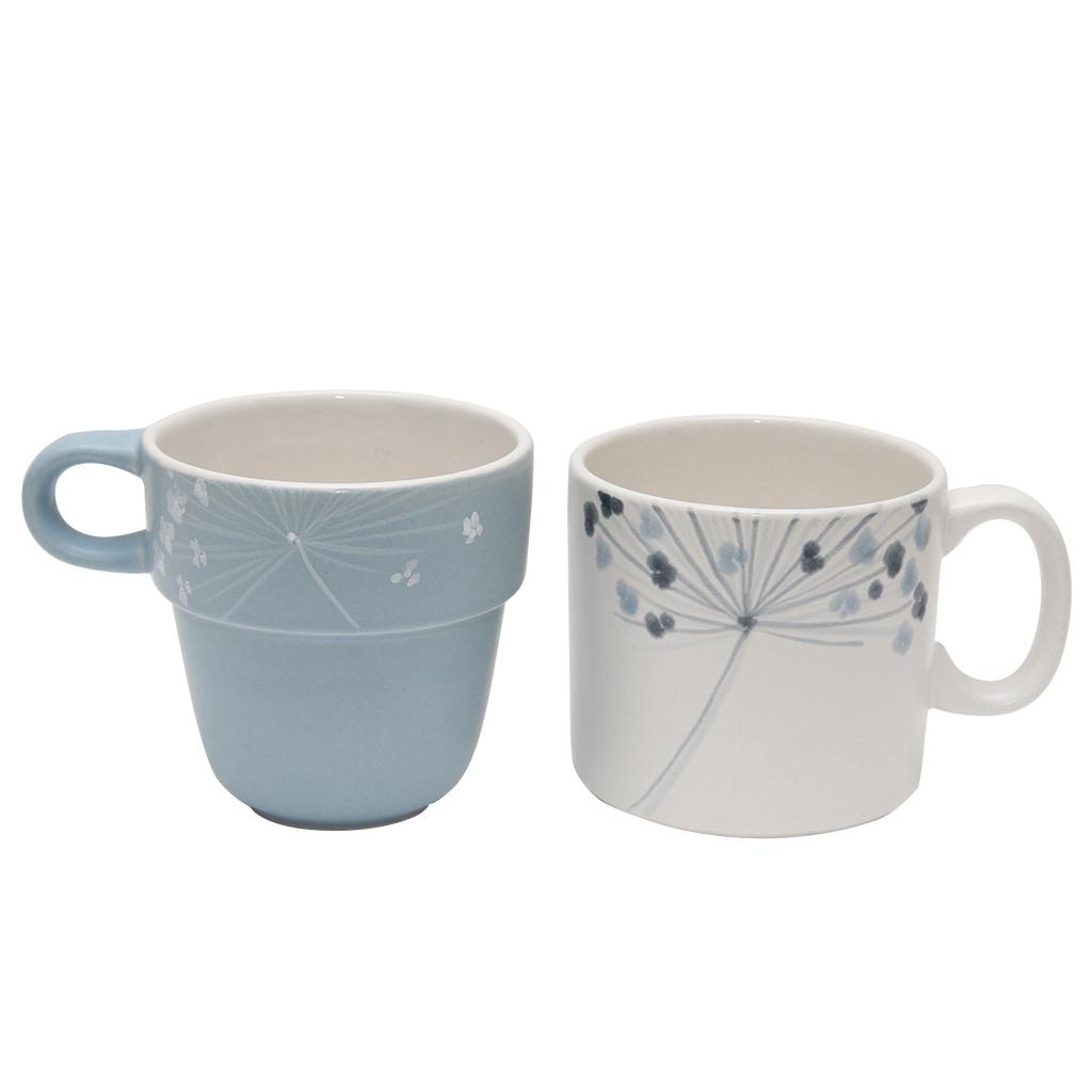 Set Cu Doua Cani Din Ceramica Cu Floi De Marar