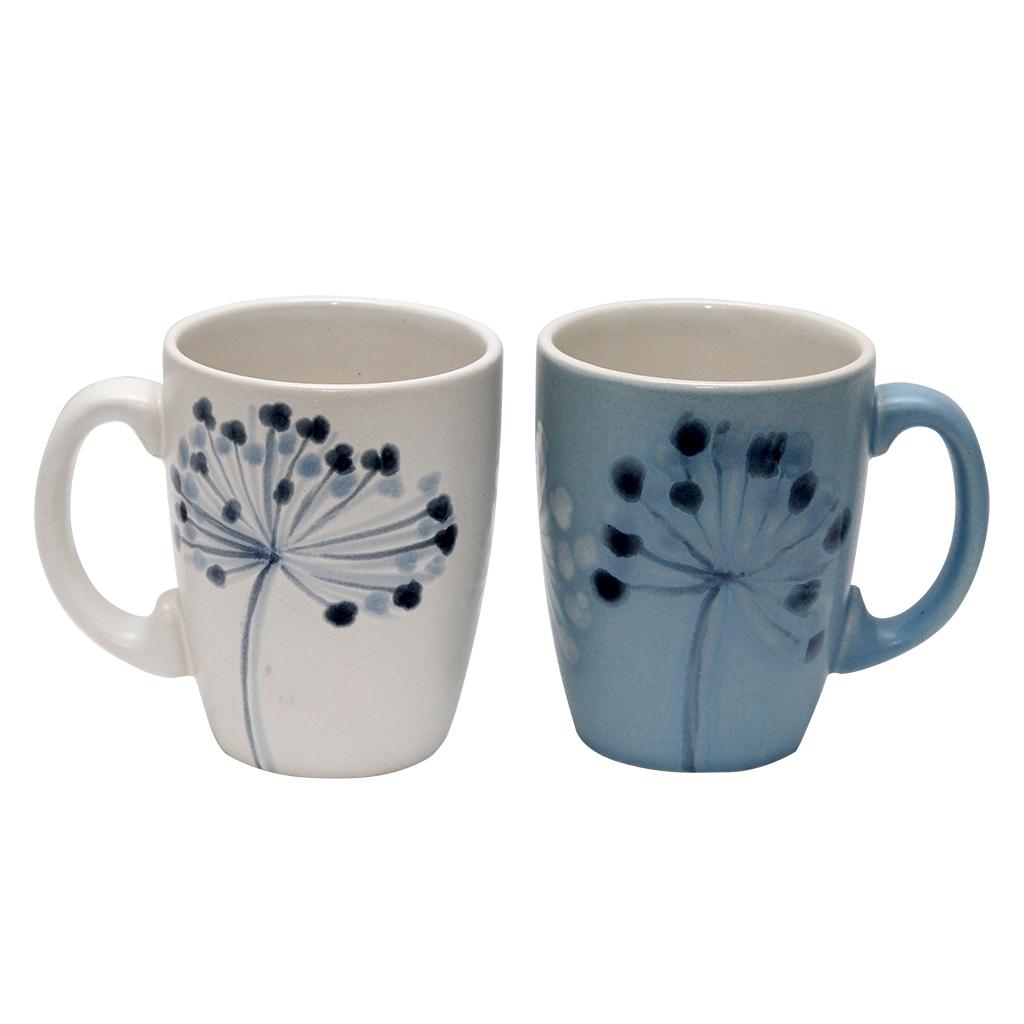 Set Cu Doua Cani Din Ceramica Cu Flori De Marar 10.5 Cm