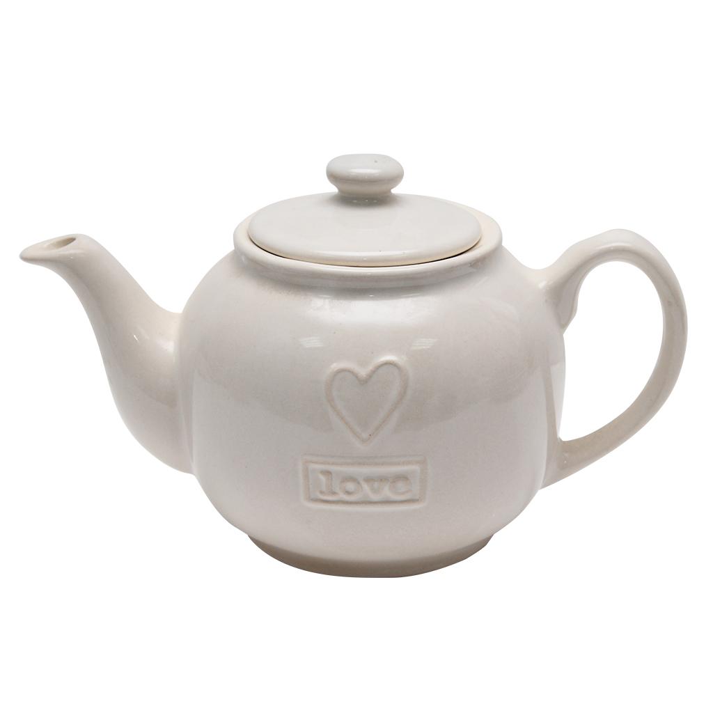 Ceainic Cu Capac Din Ceramica Crem 14 Cm